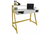 LEAN - Retro Office Desk / Computer Workstation / Dressing Table - Pine / White