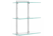 3 Tier Metal and Glass Wall Mounted Storage Shelves - Chrome