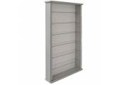 Wall Display Cabinet Grey Solid Wood 6 Glass Shelves