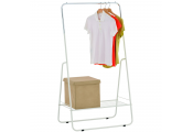 Open Wardrobe / Metal Clothes Rail with Shelf - Silver / White