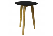 LUNA - Retro Solid Wood Tripod Leg and Round Glass End / Side Table - Natural / Tinted
