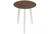 LUNA - Retro Solid Wood Tripod Leg and Round Glass End / Side Table - White / Tinted