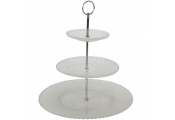 3 Tier Glass Cake Stand with Silver Metal Frame and Handle