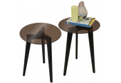 LUNA - PACK OF TWO - Retro Solid Wood Tripod Leg and Round Glass End / Side Table - Black / Tinted