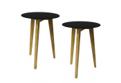 LUNA - PACK OF TWO - Retro Solid Wood Tripod Leg and Round Glass End / Side Table - Natural / Tinted