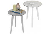 LUNA - PACK OF TWO - Retro Solid Wood Tripod Leg and Round Glass End / Side Table - White / Clear