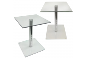 COLUMN - PACK OF TWO - Metal and Glass Side / End / Bedside Pedestal Table - Clear / Chrome