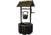 Garden Wishing Well Planter Pot with Bucket - Solid Wood
