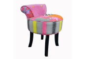 WATSONS - Contemporary Padded Stool / Fan Back Chair with Wood Legs - Multi-coloured