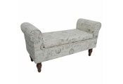 Storage Ottoman Bench / Padded Seat with Retro French Print and Wood Legs - Cream / Brown