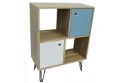 Open Sideboard Shelving / LP Vinyl Storage with Cupboards - Oak
