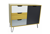 INDUSTRIAL - Modern Storage Cabinet - Beech / Multicoloured