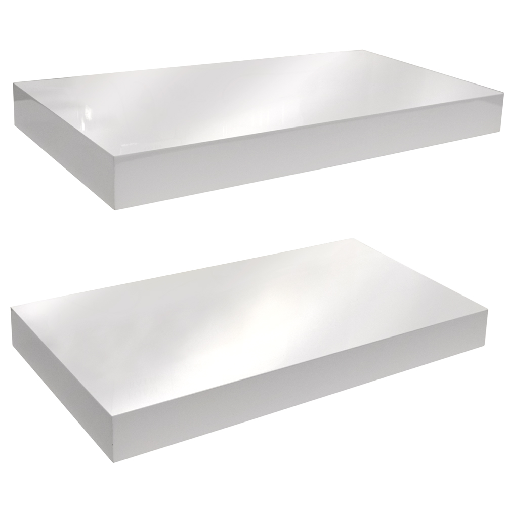 gloss wall mounted 40cm floating shelf pack of two. Black Bedroom Furniture Sets. Home Design Ideas