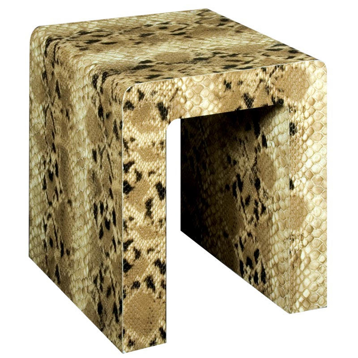 ARCH Faux Snakeskin Side Table Stool Cream Brown