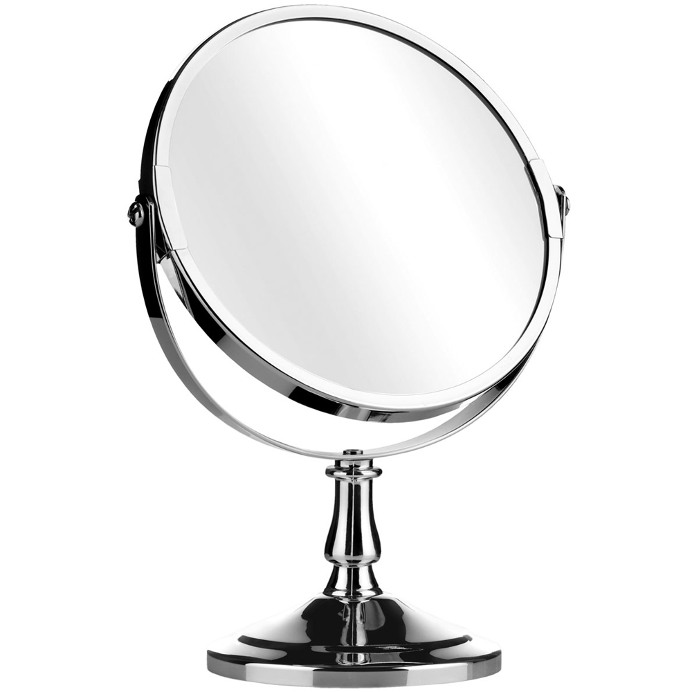 Reflect round free standing silver chrome bathroom for Silver stand up mirror