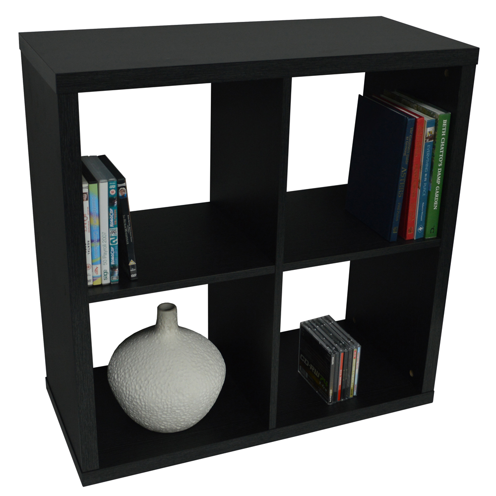 CUBE - 4 Cubby Square Display Shelves / Vinyl LP Record Storage - Black