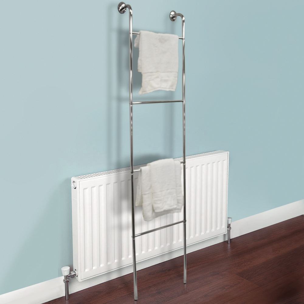 LADDER - Chrome Metal Wall Mounted 4 Rung Towel Rail - Silver