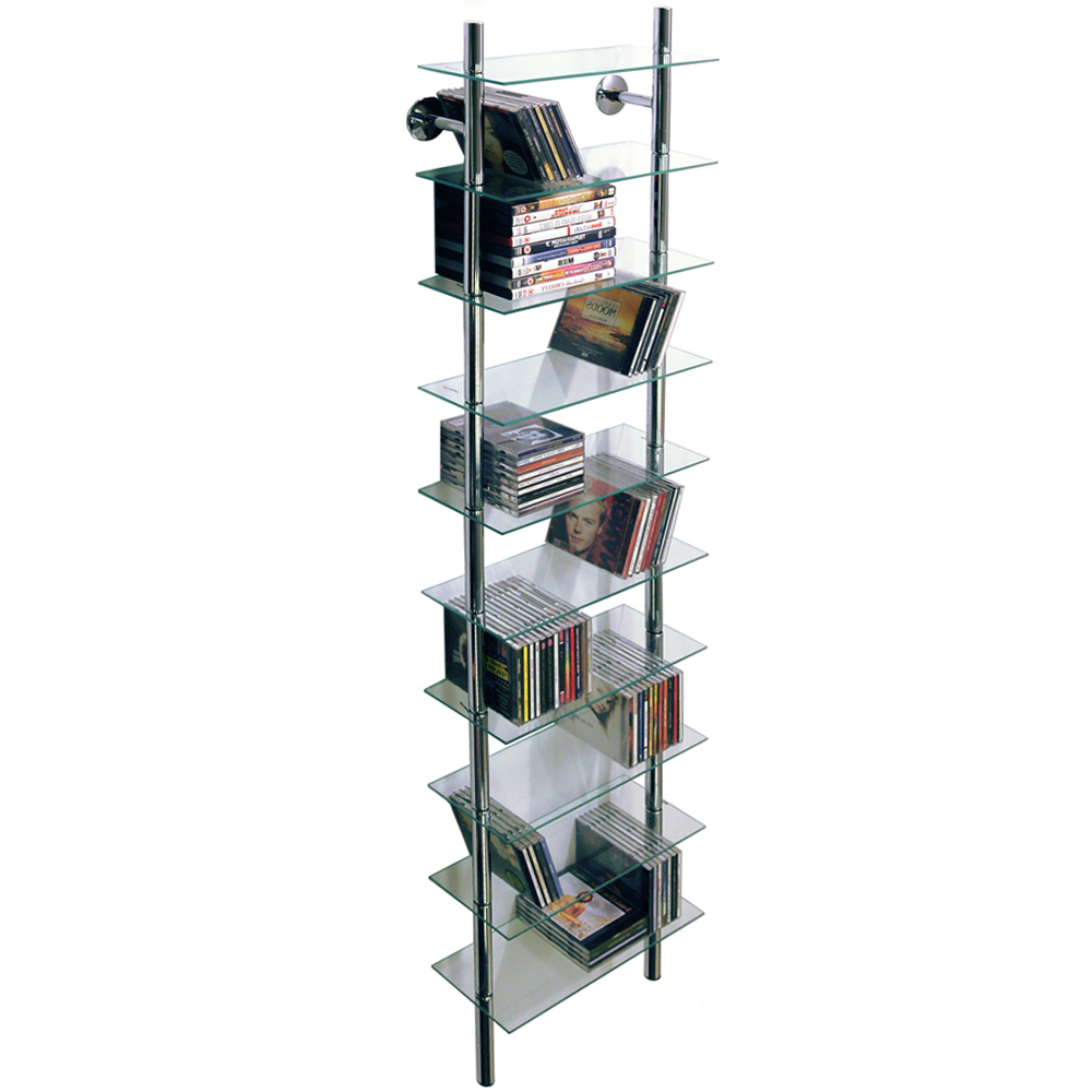 MAXWELL - Wall Mounted Glass 300 CD / Media/ Bathroom 10 Tier Storage Shelves
