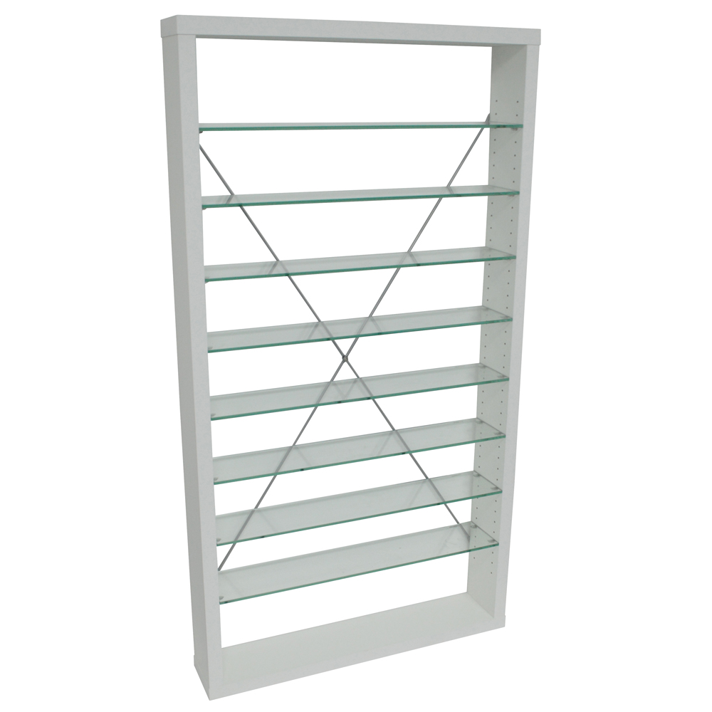ARIZONA - 760 CD / 350 DVD / Blu-ray / Media Glass Storage Shelves - White