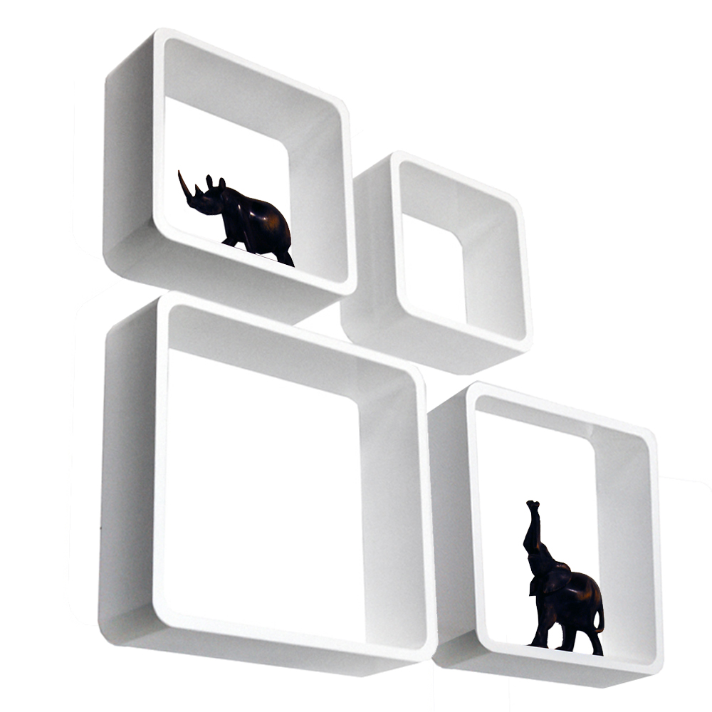 CUBE - Retro Floating Wall Display / Storage Cube Shelves - Set of Four - White
