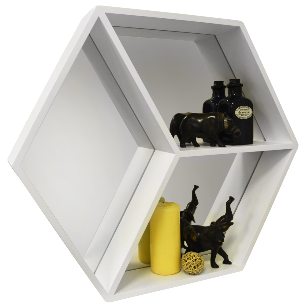 HEXAGON - Wall Mounted Cube Storage Shelf with Mirror - White