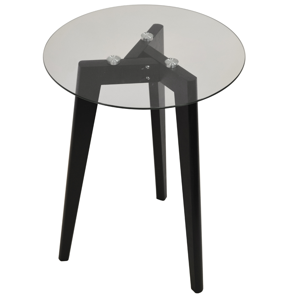 LUNA - Retro Solid Wood Tripod Leg and Round Glass End / Side Table - Black / Clear