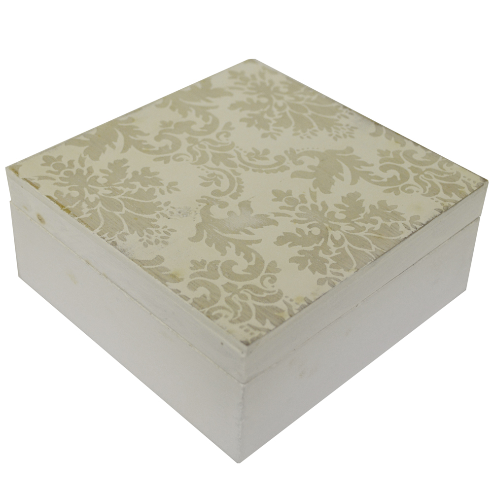 DAMASK - Lidded Square Storage / Display / Jewellery Box  - White / Grey