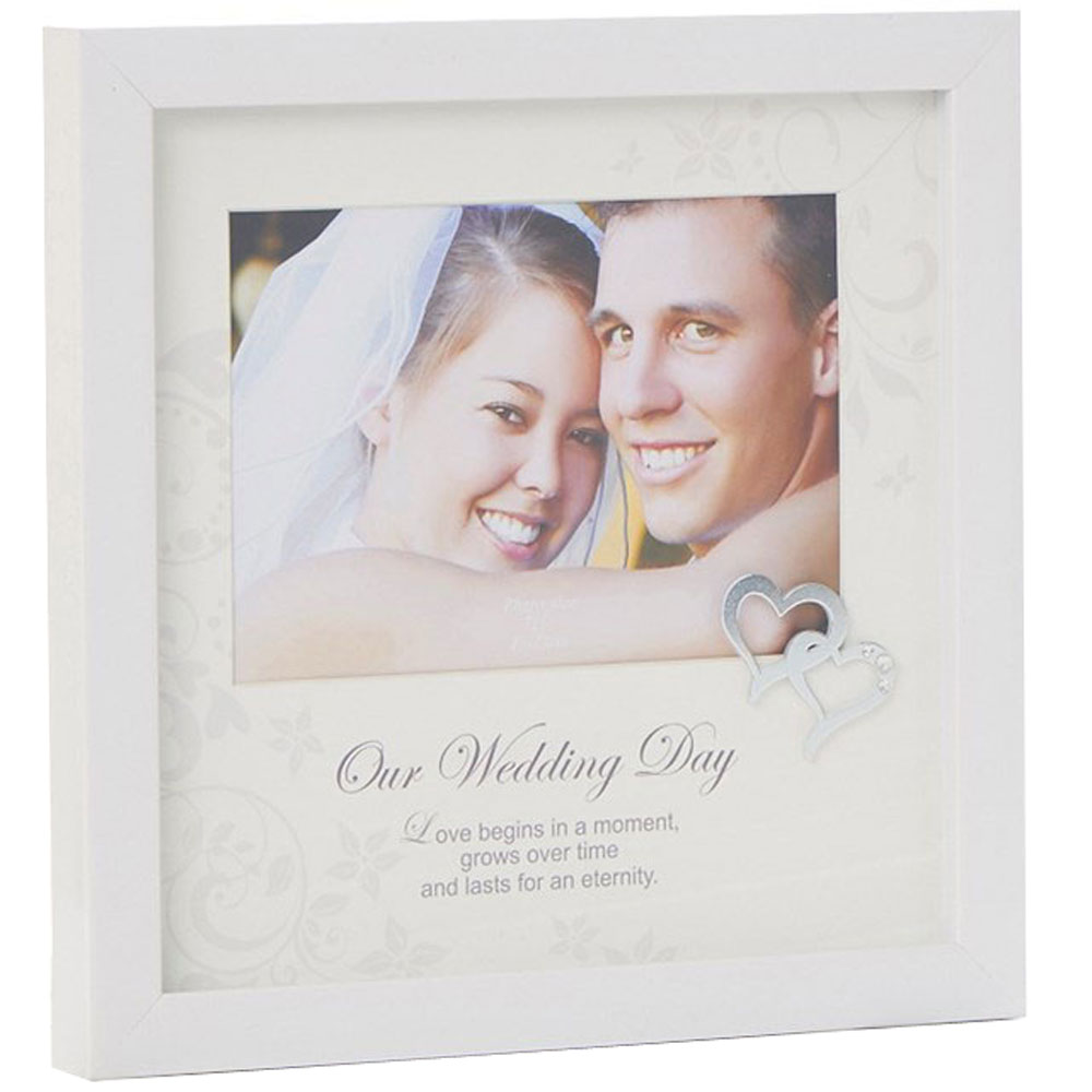LOVE - Our Wedding Day Single 7 x 5 Square Photo Frame - White