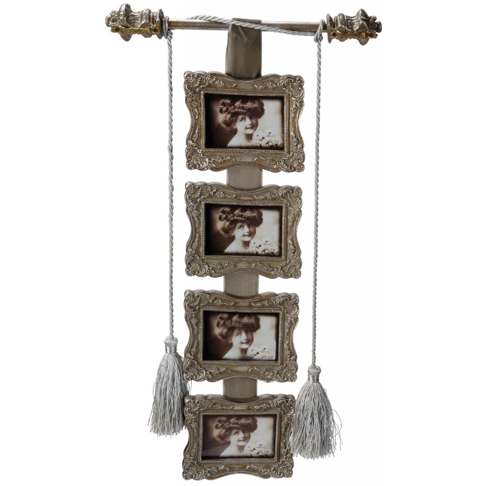 SARK - Hanging 4 Picture Collage Photo Frame - Brown / Grey